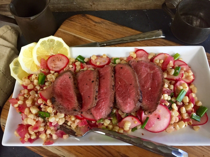 Sliced Top Sirloin Steak over Pickled Radish and Corn Salad