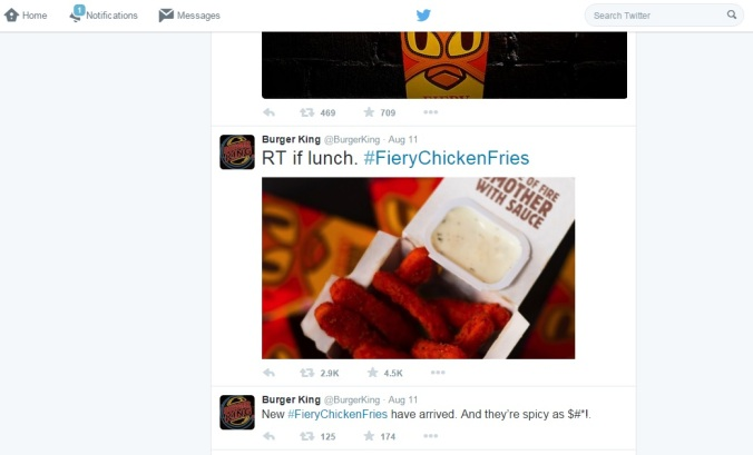 A snapshot of Burger King's Twitter Feed